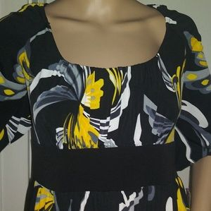 IN Studio Midi Dress  NWT blk yellow grey and wh
